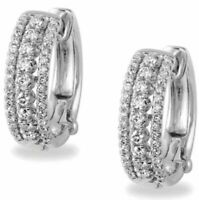 1.48 ct Hoop Huggies Brilliant cut Diamond Earrings Solid 14k white gold