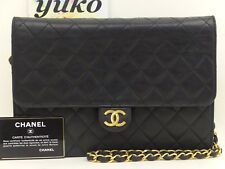 r60894 Auth VINTAGE CHANEL Black Quilted Lambskin Push Lock  Chain Shoulder Bag