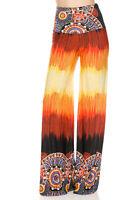 Women Casual High Waist Foldover Wide Leg Long Boho Print Trousers Palazzo Pants