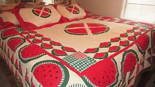 """ARCH BRAND QUILT WATERMELON PICNIC PATTERN 89"""" X 96"""" WITH 4 PILLOW SHAMS PRETTY!"""