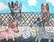 Australian Cattle Dog Collectible Aceo Print Art Card 2.5 X 3.5 Ksams Volleyball