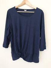 Chicos Navy Blue Twist Front Hem 3/4 Sleeve Top Women XL Size 3