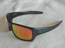 "New Oakley Turbine Sunglasses Matte Black / Custom Polarized Ruby w Green ""O"""