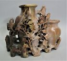 """Fine Vintage CHINESE Carved Soapstone Sculpture of a """"Double Vase""""  c. 1960s"""