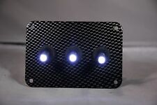 3 HOLE Carbon Fiber LOOK PANEL w/ LED toggle switches - WHITE