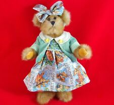"*RARE* VTG GANZ ""HAZEL"" FULLY JOINTED 11"" TEDDY BEAR w/ FALL LEAF PUMPKIN DRESS"