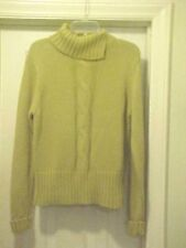 Women's Size L Beige Cable Knit Sweater By Merona 100% Cotton Long Sleeves