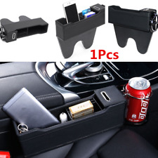 1Pcs Black Leather Console Right Side Storage Box Car Seat Catcher w/Cup Holder