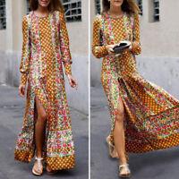 Women Printed Floral Plus Size Long Maxi Dress Casual Plain Formal Prom Dresses