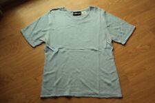 Womens Sag Harbor Blue Acrylic Rayon Nylon Short Sleeve Sweater Embroidery Large