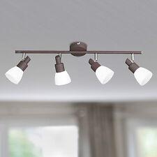 Wofi Lámpara Led de Techo Eve 4 Lámparas Marrón Antiguo Cristal Blanco Focos