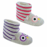 GIRLS KIDS KNITTED OWL FUR LINED PULL ON BOOTIES WARM INDOOR WINTER SLIPPERS OWL