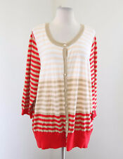 NWT Lane Bryant Striped Cardigan Sweater Size 22 / 24 Red Tan Peach White