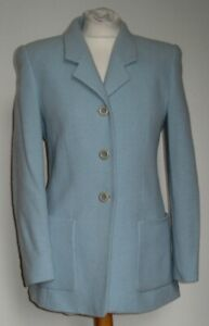 VINTAGE 1970s LOUIS FERAUD DESIGNER powder blue wool/angora jacket 10
