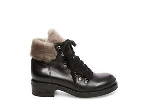 Steven Women's Paloma Combat Boots, Black Leather, Size 6.5 v15q