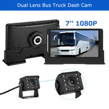 "7"" LCD 2CH Front 1080P+Rear 720P Truck Car Dash Cam Recorder DVR Loop Recording"