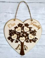 Personalised Wooden Heart Family Tree Pets Names Love Gift Plaque Wall