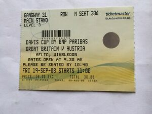 DAVIS CUP Ticket for GB vs Austria held at WIMBLEDON/Friday 19 Sep 2008 in gc