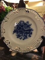 Blue & White~Ribbed/Pierced~Flow Blue~Decorative Hanging Plate~w/Blue Ribbon 💙