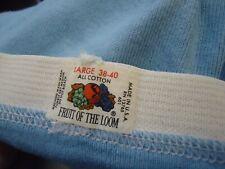 Nos Vtg 1970s Fruit of the Loom 100% Cotton Light Blue Men's Briefs M 34-36 Usa