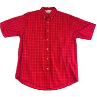 Wrangler Hero Mens Size Med Red Plaid Button Down Short Sleeve Casual Shirt