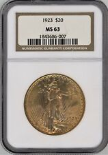 1923 St. Gaudens $20 Gold Double Eagle ~ NGC MS63 ~ An Orange Beauty! ~ 1c START