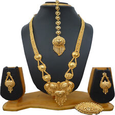 Indian 22K Gold Plated Wedding 12'' Long Necklace Earrings Tikka Ring Set f