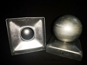 Pair of Galvanised Metal Round Ball Fence Finial Post Caps fit 3.5 inch post