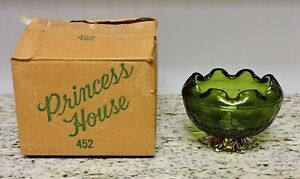 Vintage PRINCESS HOUSE Green Glass Pineapple Design Bowl w/ Original Box