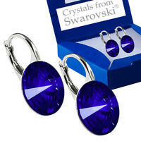 925 Sterling Silver Earrings Leverback Majestic Blue Crystals from Swarovski®