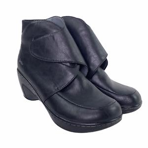 Jambu Rhonda Vegan Leather Black Ankle Wedge Boots Crossover Hook Loop EUC 10 M