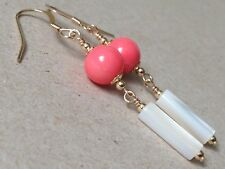 Beautiful Round Coral & Mother of Pearl 14ct Rolled Gold Earrings