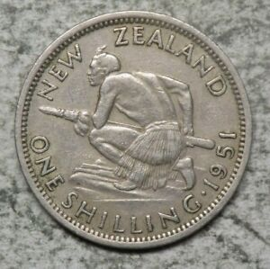 New Zealand 1951 1 Shilling Coin