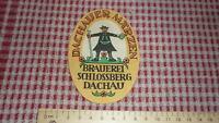 1950s GERMAN GERMANY BEER BIER LABEL, BRAUEREI SCHLOSSBERG DACHAU, MARZEN 2