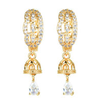 NEW Women Luxury 18K Gold Plated Zircon CZ Hoop Earrings Jewelry Party Wedding