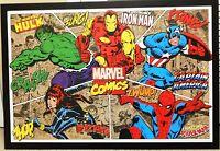 "Marvel Thor Spiderman Hulk Iron Man Captain America Mega 38"" X 26""Wooden Poster"