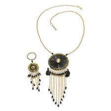 DREAM CATCHER BLACK NATIVE INDIAN SYMBOL NECKLACE AND KEYCHAIN SET HANDCRAFTED