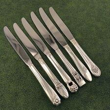 6 Vintage Mismatched Assorted Floral Dinner Knives Vintage Silverplate Lot D