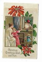 1911 Christmas Postcard EMBOSSED Mother Child Santa Claus Looking In Window Toys