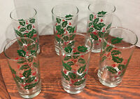 VINTAGE Indiana Glass Christmas Holiday 14 oz. Drinking Glass Tumblers Set of 6