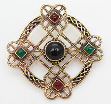 Irish Cruz Celta Broche Pin, Bronce, Onyx piedras, Viking, Ulster escoceses Irlanda