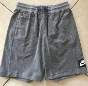 Nike Sportswear Classic Shorts Carbon Grey Heather Terry Fabric AR1860-091 SZ M