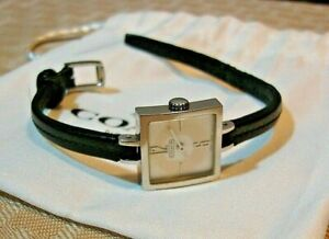 Coach Square White Dial Black Leather Strap Ladies Wristwatch 0202 Nice!