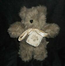 """12"""" VINTAGE 1991 WORRY TEDDY BEAR FUZZY GREY STUFFED ANIMAL PLUSH TOY BOW & TAG"""