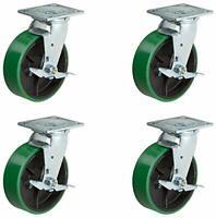 """8"""" X 2"""" Swivel Caster Set - Heavy Duty Green Polyurethane Wheel on Steel Hub wit"""