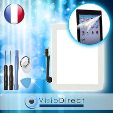 Vitre ecran tactile pour iPad 3 blanc, bouton et adhésif +film protecteur +outil