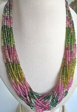 695 CTS MULTI COLOR TOURMALINE FACETTED ROUND BEADS NECKLACE SILVER HOOK