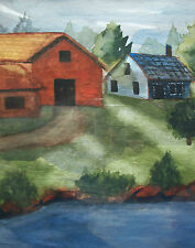 Folk Art Watercolor Painting - Unsigned - Framed - Canada - Mid 20th Century