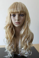 Cosplay Women Blonde Fringe Long Curly Natural Straight Wavy Full Head Hair Wig