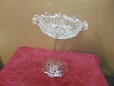 Vintage Clear Pressed Glass Compote Pedestal Candy Dish 10""